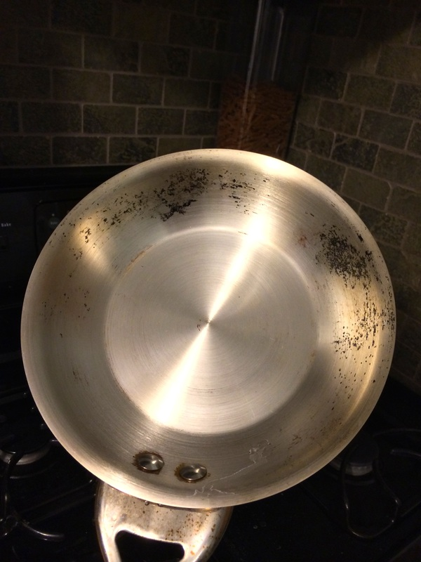 how to clean inside of burned pot